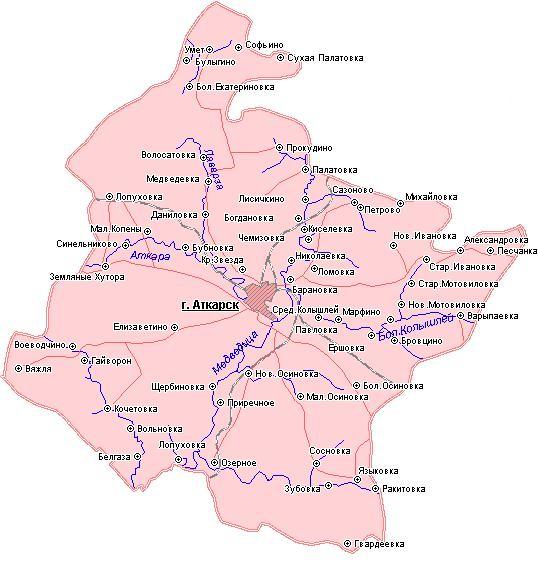 Карта Аткарского района